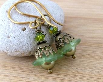 Small Green Lucite Flower Earrings. Olive Green Pearl Earrings. Antique Bronze. Petite Flower Earrings. Little Bell Flowers. Leaf Green.