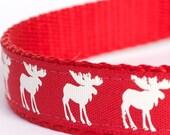 Moose Silhouettes Dog Collar, Red Pet Collar, Cabin Chic Collar
