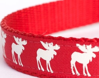 Moose Silhouettes Dog Collar, Red Pet Collar, Cabin Chic Collar