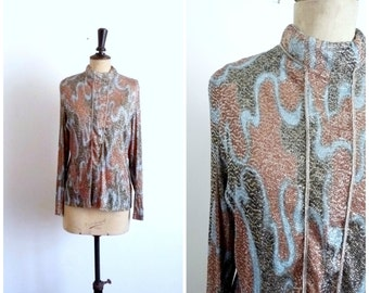 Vintage  60s/70s Tunic Top Disco PUCCI Pop Printed Lurex / Size S M