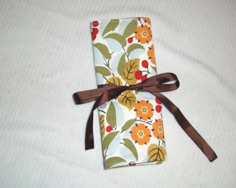 Travel Necklace Organizer, Medium Size, in Fall Floral- jewelry roll, travel jewelry case, travel jewelry roll, jewelry wallet, bridesmaid