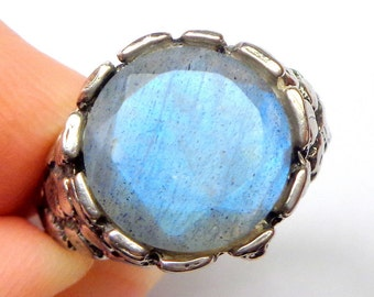 Sz 9,Labradorite Sterling Silver Ring,Men's Ring,Nugget Ring,Blue Green,Mystical Stone,Steam Punk Goth,Natural Gemstone Ring,Gothic Jewellry