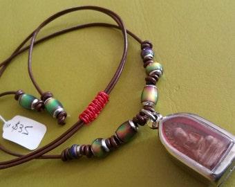 Boho Thai Buddha Amulet Mirage Bead Colour Changing Leather Necklace Travel Safe Zen