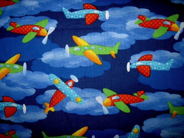 18x22 airplanes cotton fabric fat quarter kids print for Airplane print cotton fabric