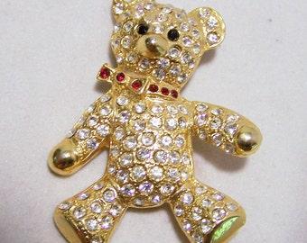 Large Crystal Rhinestone Teddy Bear Pin Gold Tone Figural Brooch Vintage Jewelry 516GZ