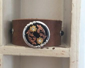 Embellished Leather Cuff Bracelet