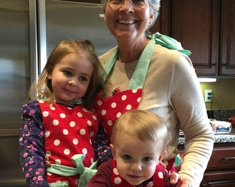 Grandma and Me Apron Set Mint Green-Polka Dot full Aprons Matching made to order