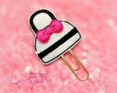 Purse Glitter Planner Clip in black, white, hot pink