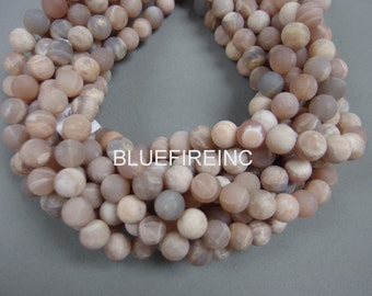 37pcs 10mm round matte finished Natural color  peach color Peach  Moon stone beads in full strand
