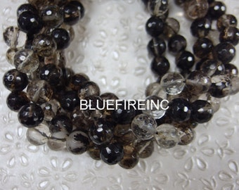37 pcs faceted clear black quartz round beads in 10mm