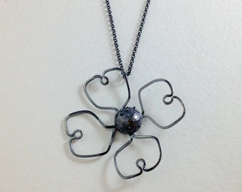 Dogwood Blossom Pendant, Oxidized Sterling Silver, Authentically Handmade