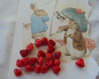 Twenty Vintage Diminutive Red Glass Buttons