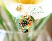 Butterlies love with initial pictures Locket necklace