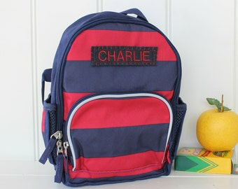 Personalized Toddler (Mini Size) Backpack Pottery Barn -- Navy/Red Rugby Stripe