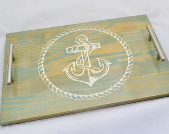 Blue Stain Nautical Anchor Wooden Serving Tray, Coffee Tray, Tea Tray, Espresso Tray