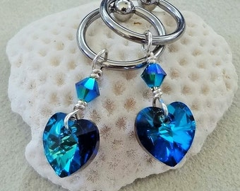 Sexy Nipple Rings, CBR, Heart Nipple RIngs, Heart Nipple Chains, Blue Nipple, Blue Nipple Chains, Breast Jewelry, Sexy Jewelry, Bermuda Blue