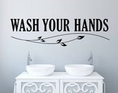 WASH YOUR HANDS Mural----Removable Graphic Art wall decals stickers home decor