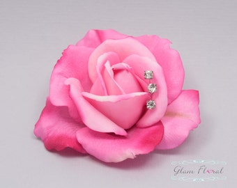 Hot Pink Rose Hair Clip with rhinestone sprays. Real Touch Flowers. Caroline Rose Collection