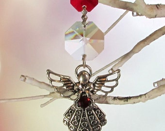 Ruby Angel Christmas Ornament & Crystal Sun Catcher, 1S-60