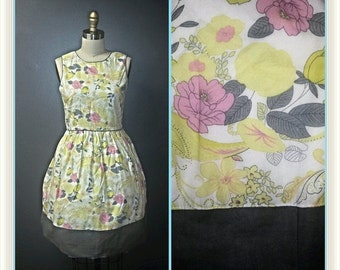 SUMMER HEAT SALE Vintage 1960s Party Dress - White Yellow and Grey Floral Print