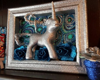 MLP My Little Pony Unicorn Upcycled 3D Glitter Mixed Media Original Abstract Artwork