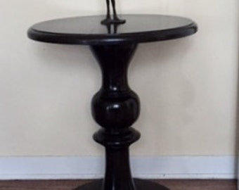 For Sale: Handcrafted Solid Wood Pedestal Side Table