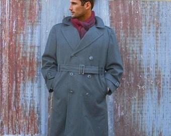 Vintage US Army Officers Gaberdine Wool Trench Coat - Overcoat  - Mens 38S