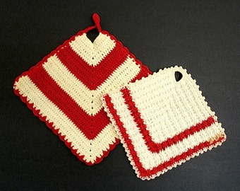 Vintage Pair of Red and White Square Crochet Potholders