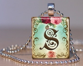 Vintage Monogram Letter S with  Roses - Pendant made from an Upcycled Scrabble Tile (171)