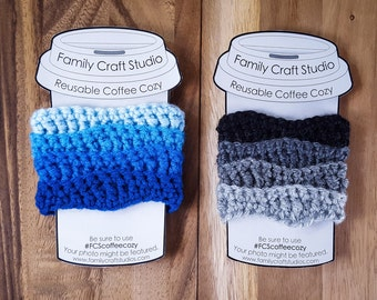 Made-to-Order 2-Set 4-Color Wave Coffee Cozies