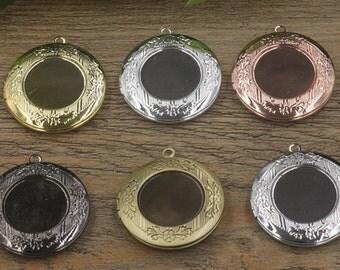 10 Lockets- Brass Bronze/ Silver/ Gold/ Rose Gold/ White Gold/ Gun-Metal Plated 20mm Round Bezel Setting Photo Frame Pendant Base- Z4774