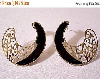 ON SALE Black Filigree Hoops Pierced Earrings Gold Tone Vintage Open Round Crescents