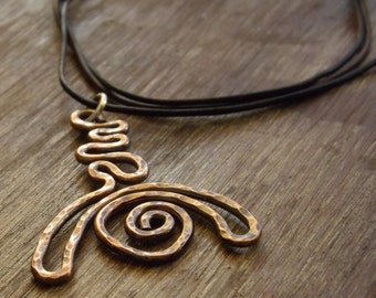 Handmade Spiral Pendant Necklace, Copper Textured Spiral Necklace, Oxidized Modern Jewelery Etsy by Mary-anne Fountain