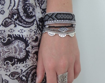 Hand woven DMC friendship bracelet multistrand bracelet in black and grey - black bracelet - multiple strands beaded bohemian bracelet