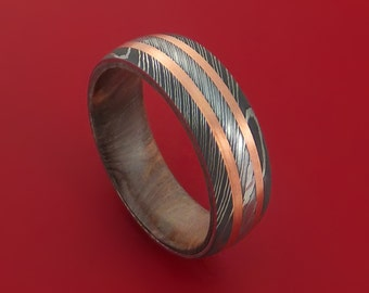 Damascus Steel Ring with Copper Inlays and Kauri Hard Wood Sleeve