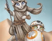 30% OFF SALE BB-8 and Rey Cats - Star Wars the Force Awakens