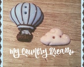 "Handmade Buttons ""Hot Air BAlloon"" - set of 2 pcs."