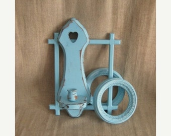Happy 4th with 40% Off Beach Blue Cottage Chic Wall Gallery  / Open Frames, Candle Sconce Aqua Blue Wall Decor