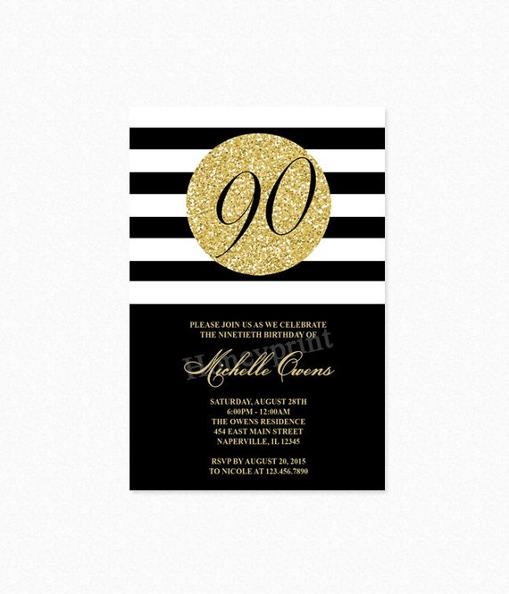 Black and Gold 90th Birthday Party Invitation 90th Birthday