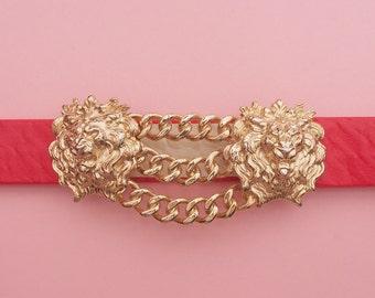 80s Lion Belt // MiMi Di N Belt // Gold Toned Belt Buckle // Baroque Belt // Glam Belt // Red Belt // Vintage belt