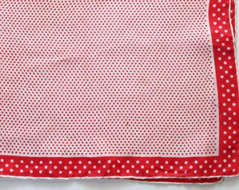 Vintage 1950s Red and White Polka Dot Silk and Rayon Handkerchief/Scarf