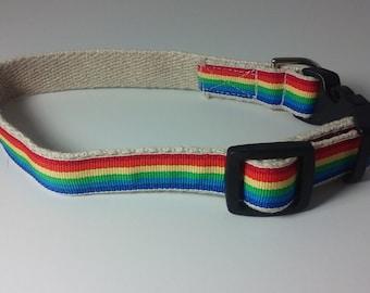 Hemp Dog Collar - Rainbow - 3/4in