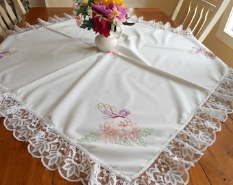 Cotton Vintage Handmade Hand Embroidered Tablecloth Butterfly and Flowers Tablecloth