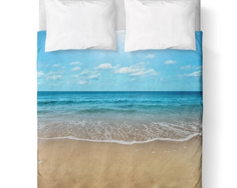 Beach Duvet Cover/ Bedding/ Comforter Cover/ Twin, Queen, King/ Ocean, waters, beach, sky, sand / Made To Order