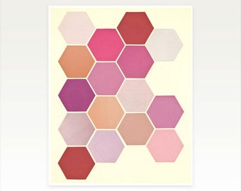 CLEARANCE SALE! Pink Geometric Art, Minimalist Pattern Print - Shades of Pink