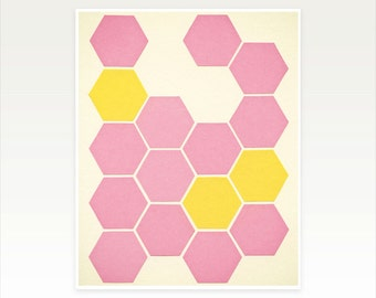 CLEARANCE SALE! Yellow and Pink Geometric Pattern Art, Modern Art Print - Pink Honeycomb