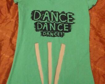 DANCE hand stenciled cut out design green v neck t shirt