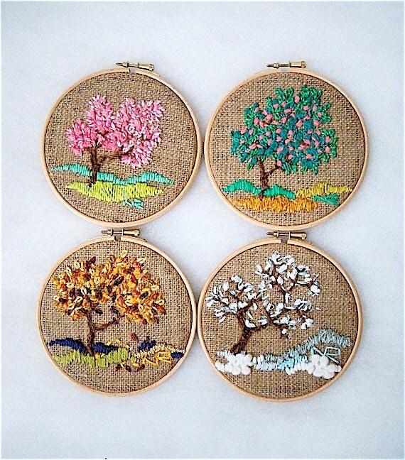 Four seasons Embroidery Hoop wall art Hoop Art Decorative Arts Handmade Embroidery hoop Fiber art Tapestry Textiles Modern Art Home decor