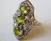 Art Deco Multi Stone Peridot Ring in Sterling Silver Size 6 Semiprecious Gemstone Bohemian Victorian Engagement Gatsby Downton Abbey Bridal