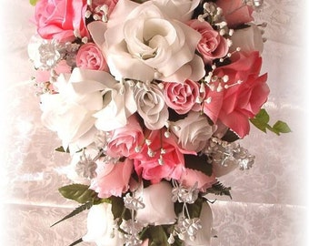 PINK Wedding Bouquet Cascade 2pc White Silver Silk Flowers Boutonniere Roses